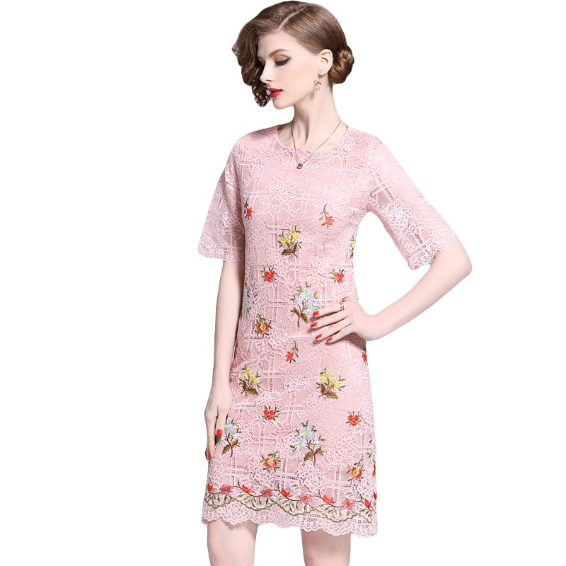 HAMALIEL Pink Lace Floral Pencil Fashion Dress Summer Women Embroidery Half Sleeve Bodycon Slim Dress Elegant Hollow Out Dress 2