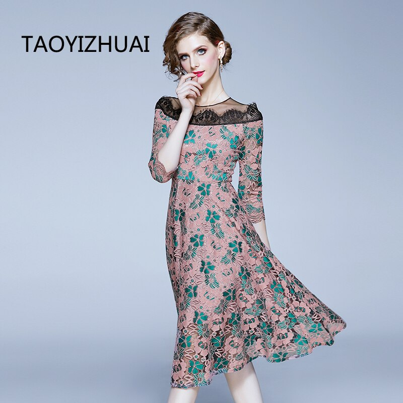 TAOYIZHUAI casual style women dress A-line nature waist rond neck half sleevs hollow out patchwork lady party fashion dress 2