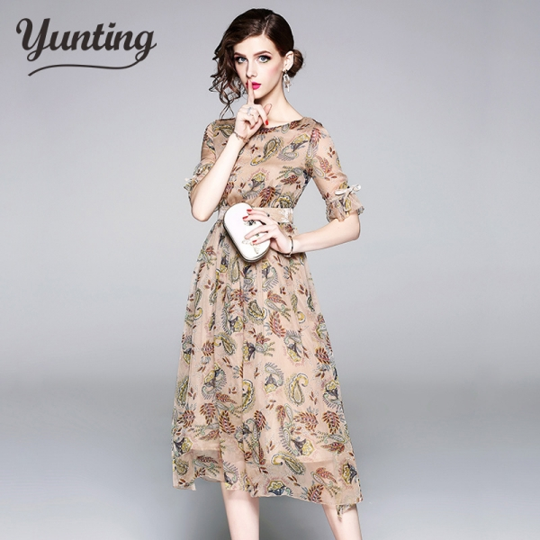 19 High quality luxury Runway Summer Chiffon Women Printed half Sleeve dress vestidos