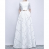 Elegant White Ball Gown Long Party Dress Casual Plus Size Dress Half Sleeve Round Dress
