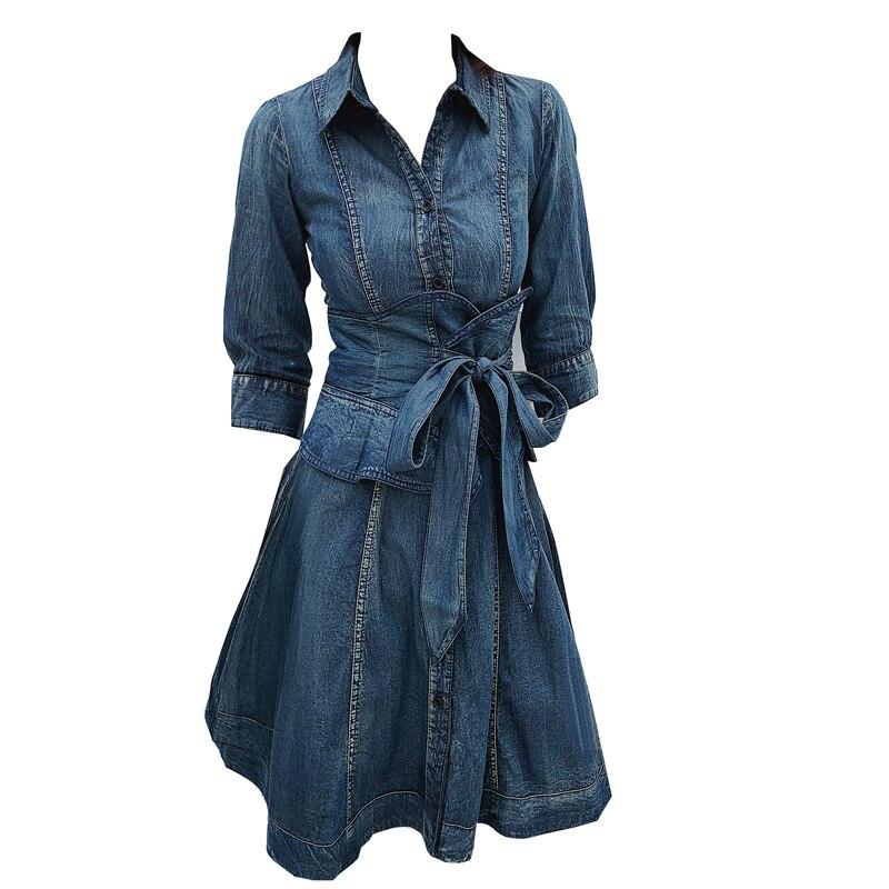 Denim dress women 19 spring new single-breasted retro slim high waist half Sleeve jeans dress a-line 2