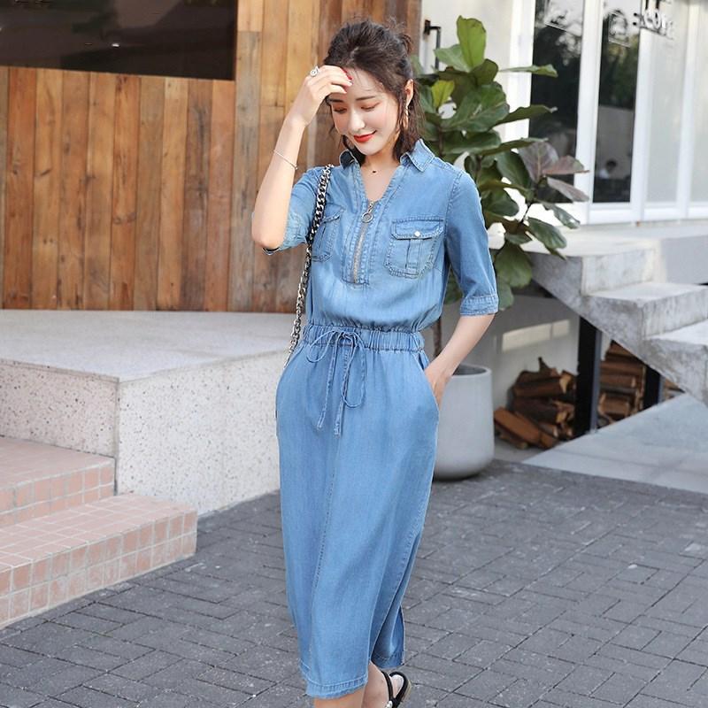 19 Fall Women Midi Cowboy Plus Size Dress Belt Elastic Waist Casual Jeans Dress Half Sleeve V Neck Denim Dress