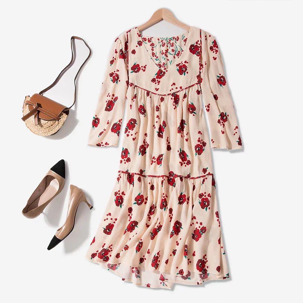 Women Half Sleeve Loose Mini Dress Red Flower Print V Neck High Waist Summer Dress 3
