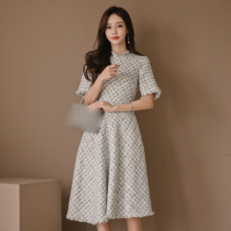 New Casual Fragrant Tweed Dress Elegant Half Sleeve High Waist Plaid Dress Empire Slim Fit A Line Tassel Knee Length Dress 3