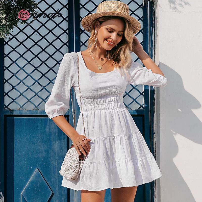 Conmoto Women Vintage Square Collar White Short Dress Casual High Waist Beach Holiday Mini Dress Ladies Lantern Sleeve Vestidos