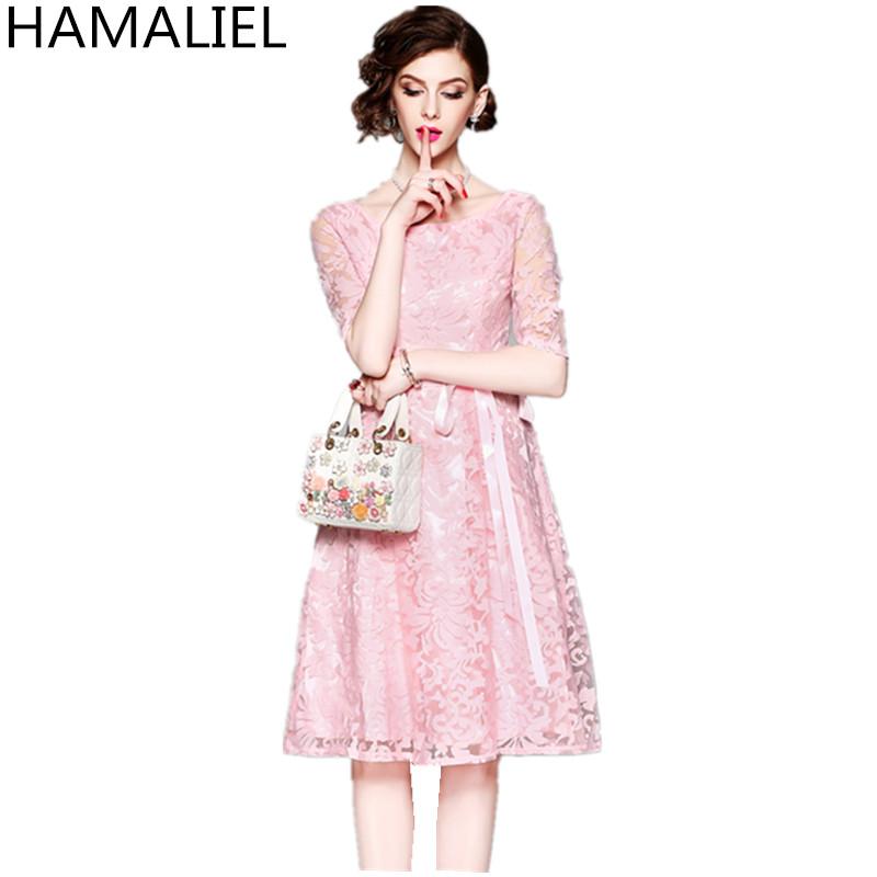 HAMALIEL Women Pink Party Dress 18 Summer Mesh Embroidery Hollow Out Half Sleeve Female Vianteg Slim Tie Bow Dress Vestidos 2