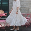 19 Summer Women Casual Half Sleeve Loose Dress Solid Oversize Big Hem Hollow Out Maxi Dresses Elegant White Long Dress