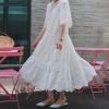 19 Summer Women Casual Half Sleeve Loose Dress Solid Oversize Big Hem Hollow Out Maxi Dresses Elegant White Long Dress