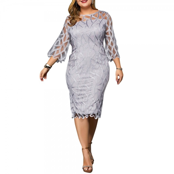 Autumn Plus Size Women Bodycon Midi Dress Solid Hollow Half Sleeve Vintage Beach Sexy Summer Large Size Party Lady Dress Vestido