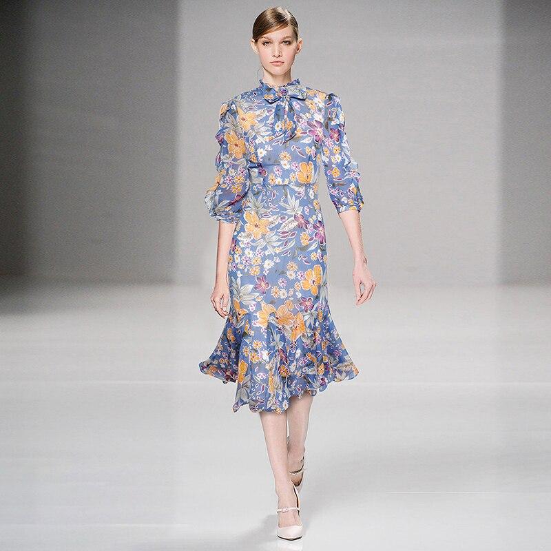 HIGH QUALITY Newest Fashion Runway 19 Designer Dress Women's Half Sleeve Charming Floral Print Mermaid Dress 1