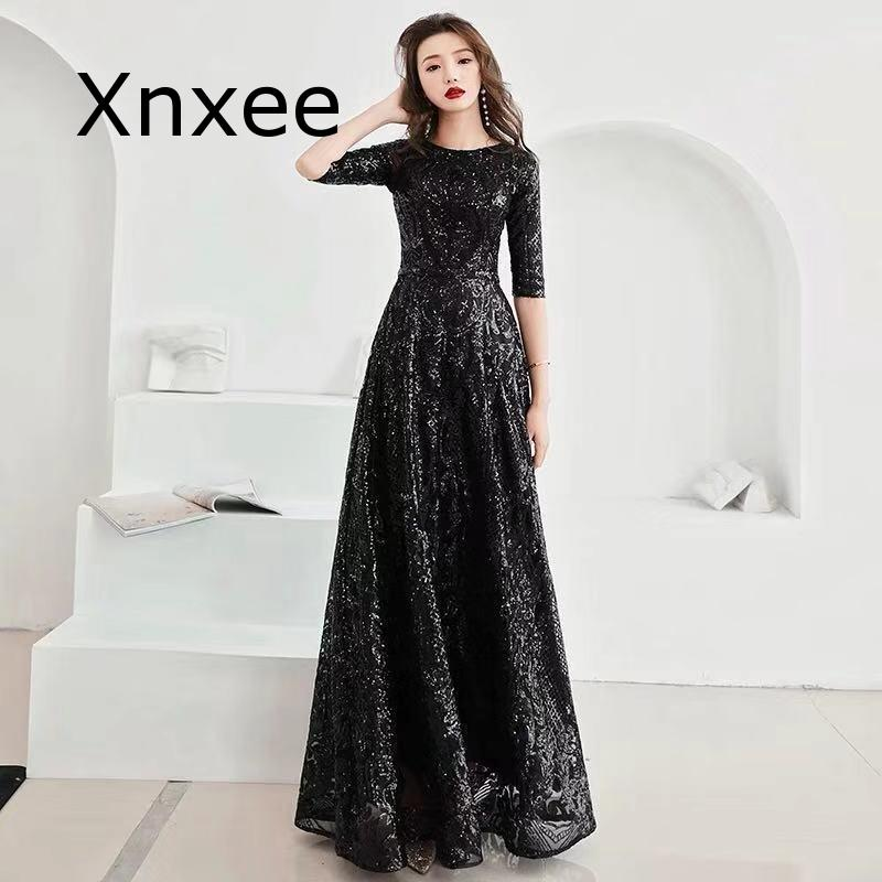 Xnxee Full Sequins Shining O-neck Half Sleeve Formal Dresses Women Vintage Wine Red Long Party Vestido de novia 2
