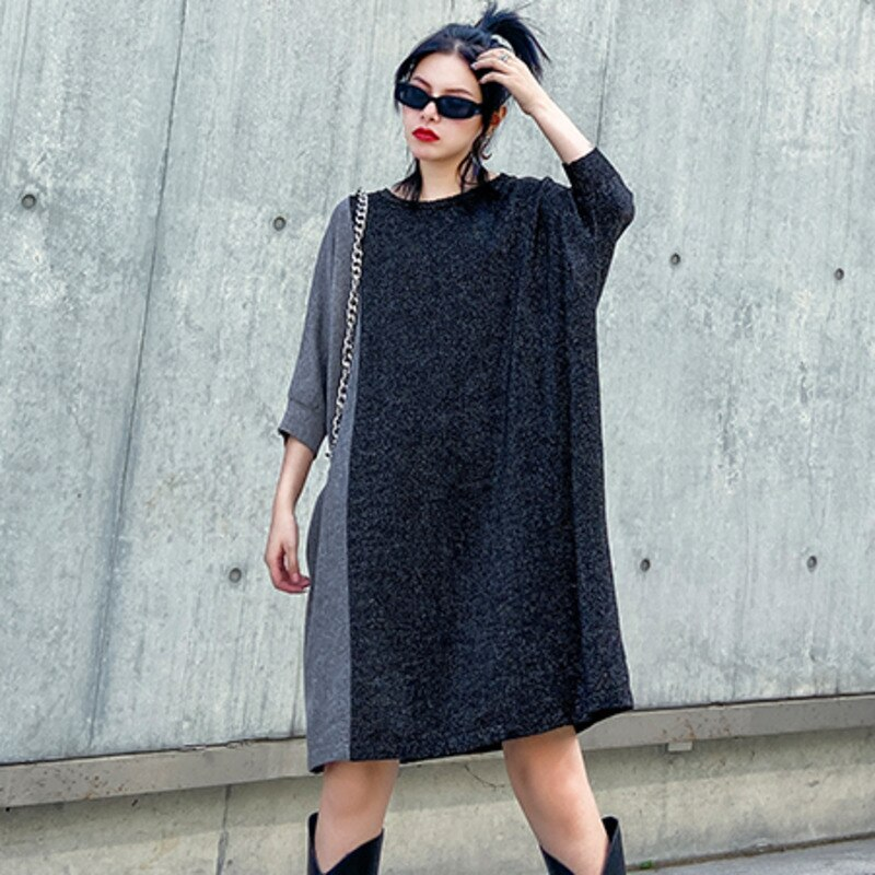 Vefadisa O-Neck Half Sleeve Dress Women  Spring Bright Silk Knitting Dress Hit Color Patchwork Dress Loose Gray QYF1661 3