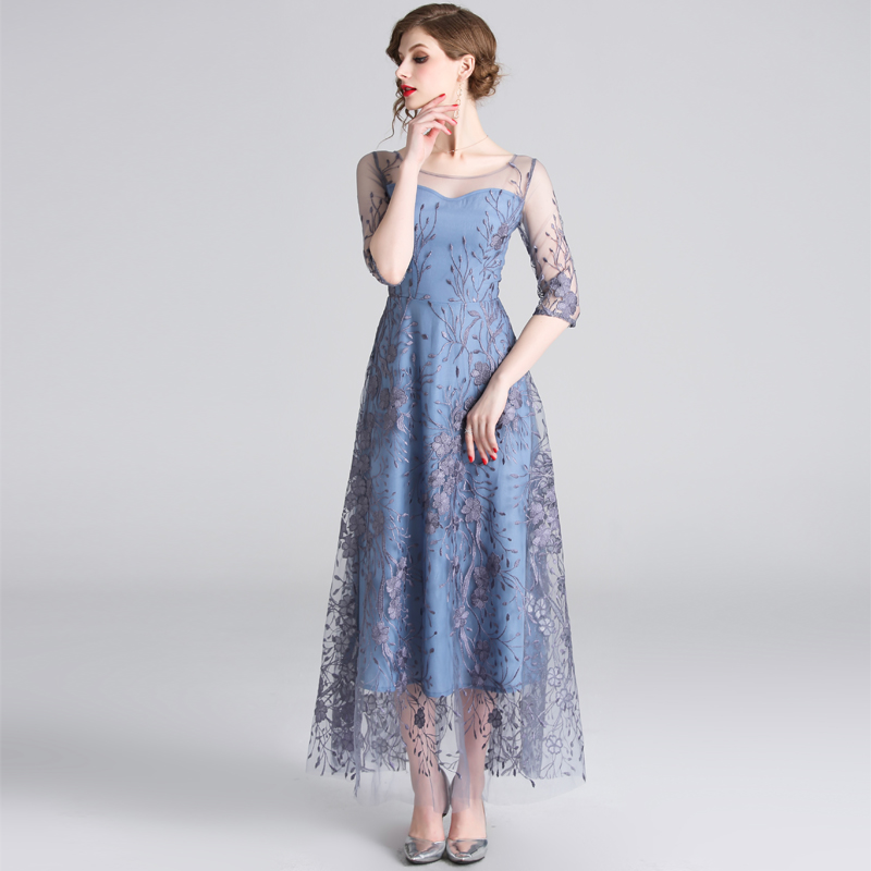 HAMALIEL Runway Noble Half Sleeve Women Tull Long Dress 19 Spring Mesh Embroidery Floral Dress Elegant Patchwork Slim Vestidos 3