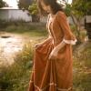 Original Design AIGYPTOS Spring Autumn Women French Rural Style Vintage Dresses Elegant Slim Cotton Corduroy Long Princess Dress