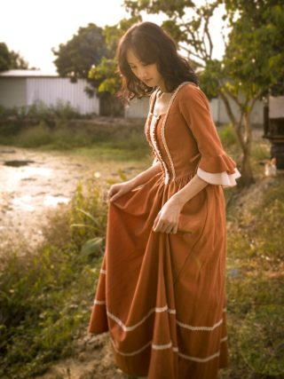 Original Design AIGYPTOS Spring Autumn Women French Rural Style Vintage Dresses Elegant Slim Cotton Corduroy Long Princess Dress