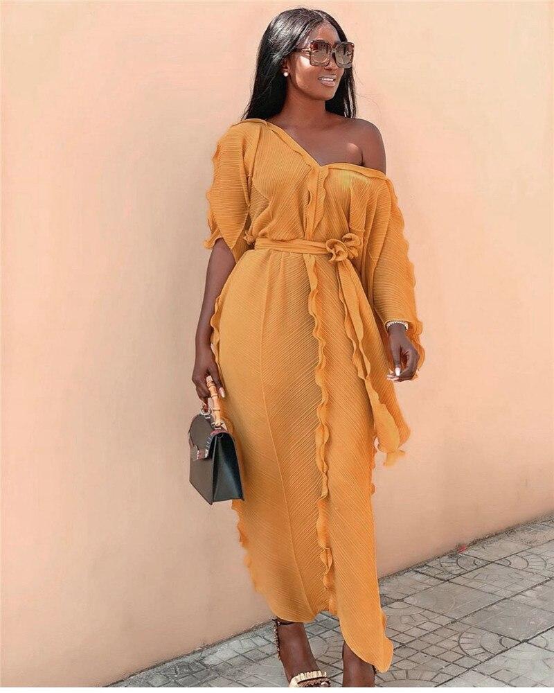 Brand Pleated Ruffle Loose Dress Women V-neck Half Sleeve Fashion Long Dress Solid Color Luxury Elegant Runway Dress Vestidos 3