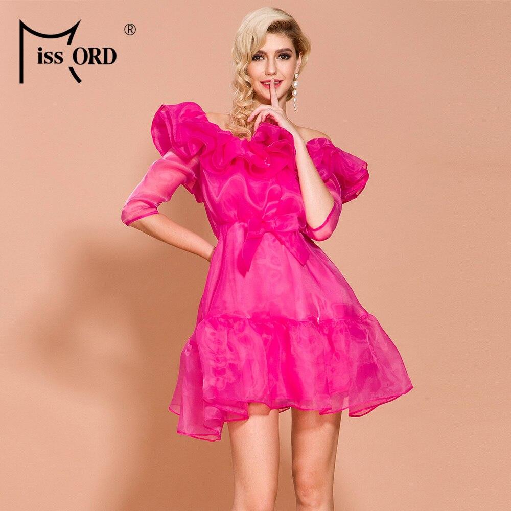 Missord 19 Autumn and Winter O Neck Half Sleeve Dresses Female Elegant Solid Color Mini Ruffles Dress FT19807