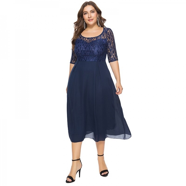 19 Women Spring Autumn Lace Dress O Neck Half Sleeve Plus Size 6XL Patchwork Navy Blue Mid-Calf Chiffon Dress Club Party Dress