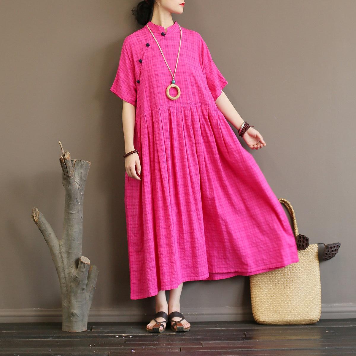 Women National Vintage Style Long Dresses Stand Collar Plate Buckle Summer High Waist Half Sleeve Loose Dresses 3