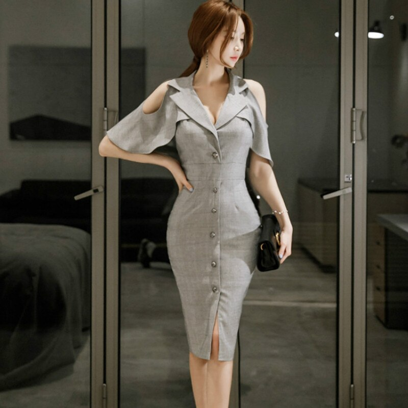 Plus Size Pencil Dress Summer Women Gray Half Butterfly Sleeve V-neck Knee-length Casual Office Lady Dress Elegant Party Dresses 3