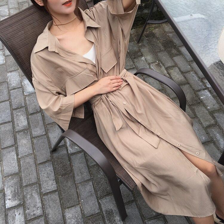 Women cardigan pocket half Sleeve Brown Dress Oversize Collar Buttons Long Shirt Dresses Women Casual Dress Robe Femme 3