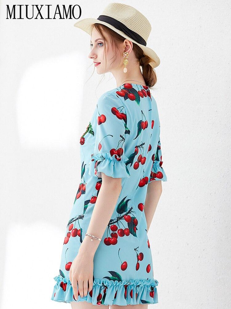MIUXIMAO Top Quality 19 Ruway DesignFall Dress Newest Casual Dresses Women Cherryprint Ruffles Half Sleeve Dress Women 2