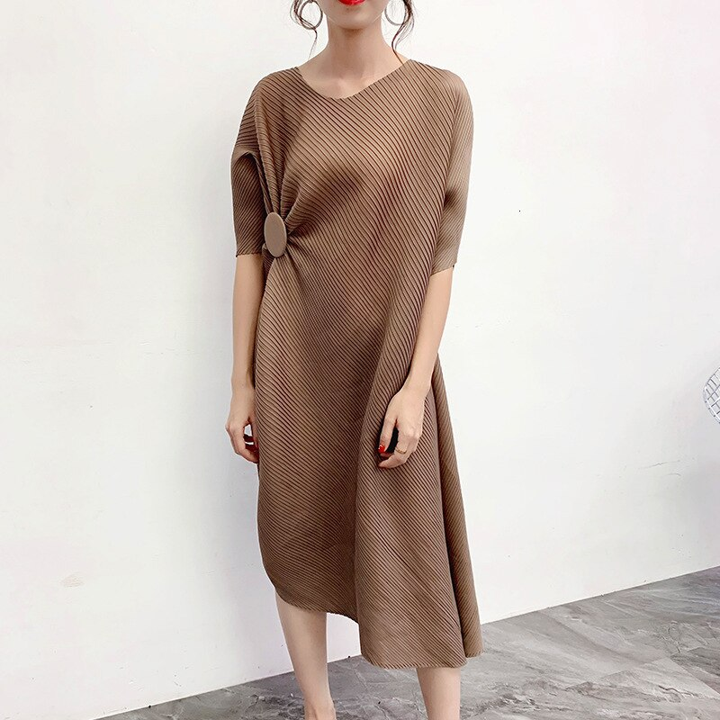 MEVGOHOT Half Sleeve Woman Solid Pleated Buttons Fashion Dress Mid-calf Length Press Fold Casual Loose Draped Dresses HD27