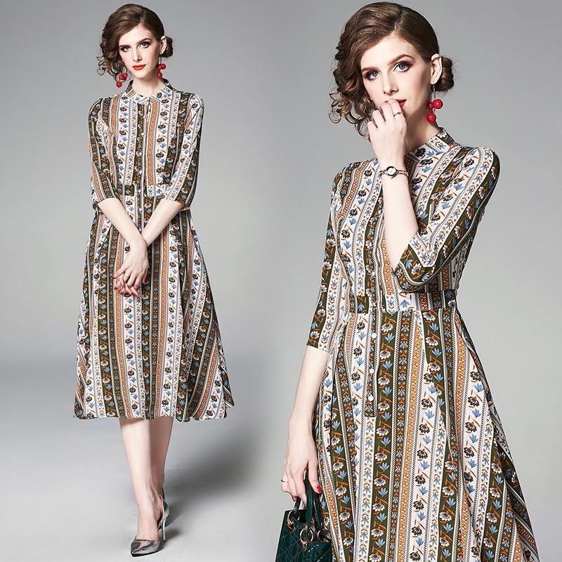 YASUGUOJI New 19 Summer Dress Women Vintage Floral Dress Half Sleeve A Line Stand Collar Single Breasted Slim Dress Women 1