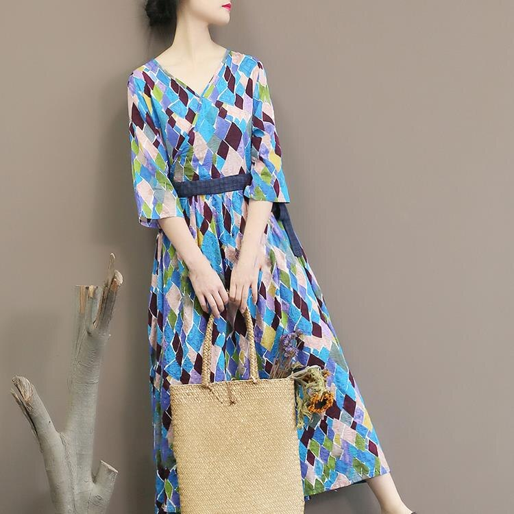 Spring Autumn Geometric Printing Dress Half Sleeve Sexy V Neck Dress Loose Long Dress