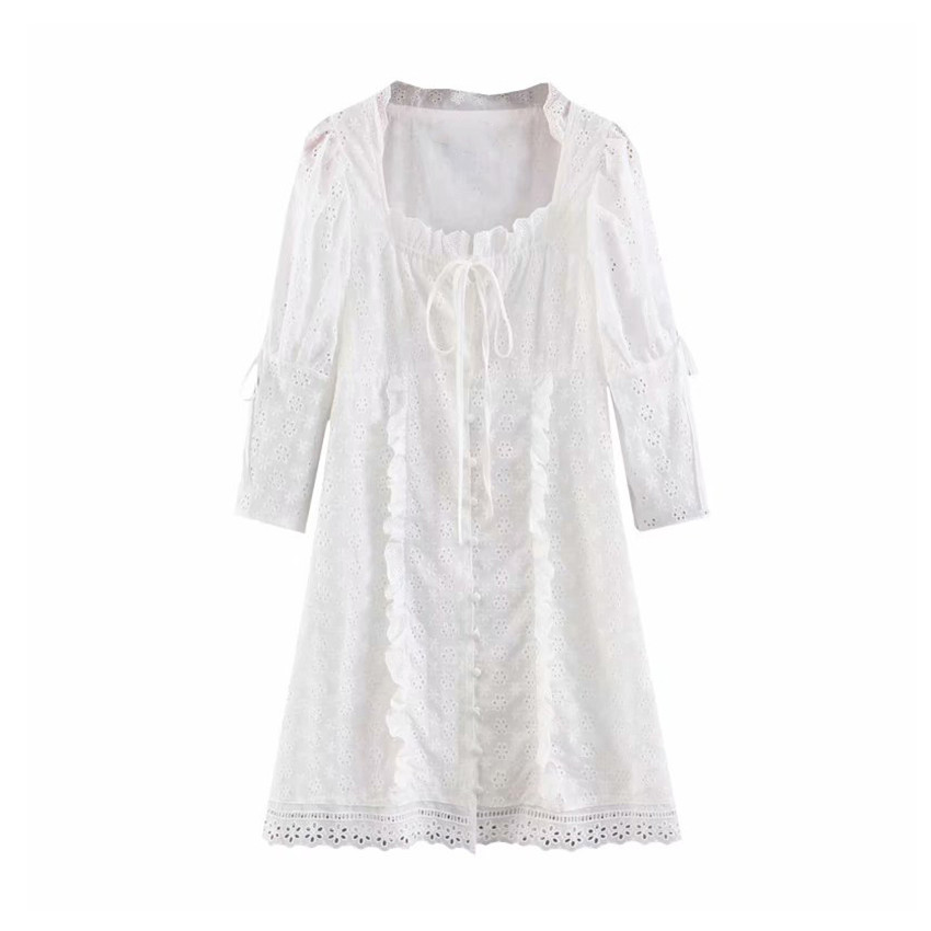Women sweet embroidery hollow out mini dress white pleated half sleeve dresses female sweet chic A line vestido 1