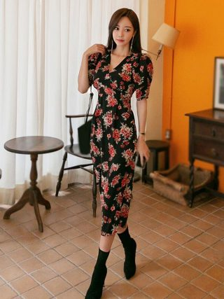 Summer Women Floral Print Dress Half Sleeve Pencil Bodycon Dress Office Lady Ladies V Neck Office Dress