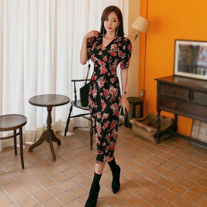 Summer Women Floral Print Dress Half Sleeve Pencil Bodycon Dress Office Lady Ladies V Neck Office Dress