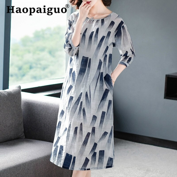 19 Spring Summer Ink Painting Print Dress Women Red Blue Half Sleeve Midi Dress Women A-Line Vintage Dresses Ladies Vestidos