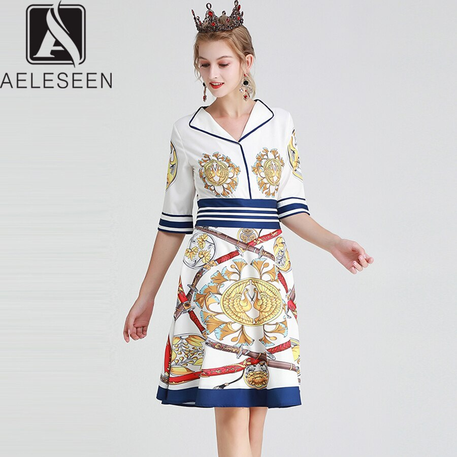 AELESEEN Vintage Knee-Length Dresses Women Summer 19 Casual Wearing V-neck Canary Sword Printed Half Sleeve A-Line Midi Dress 1