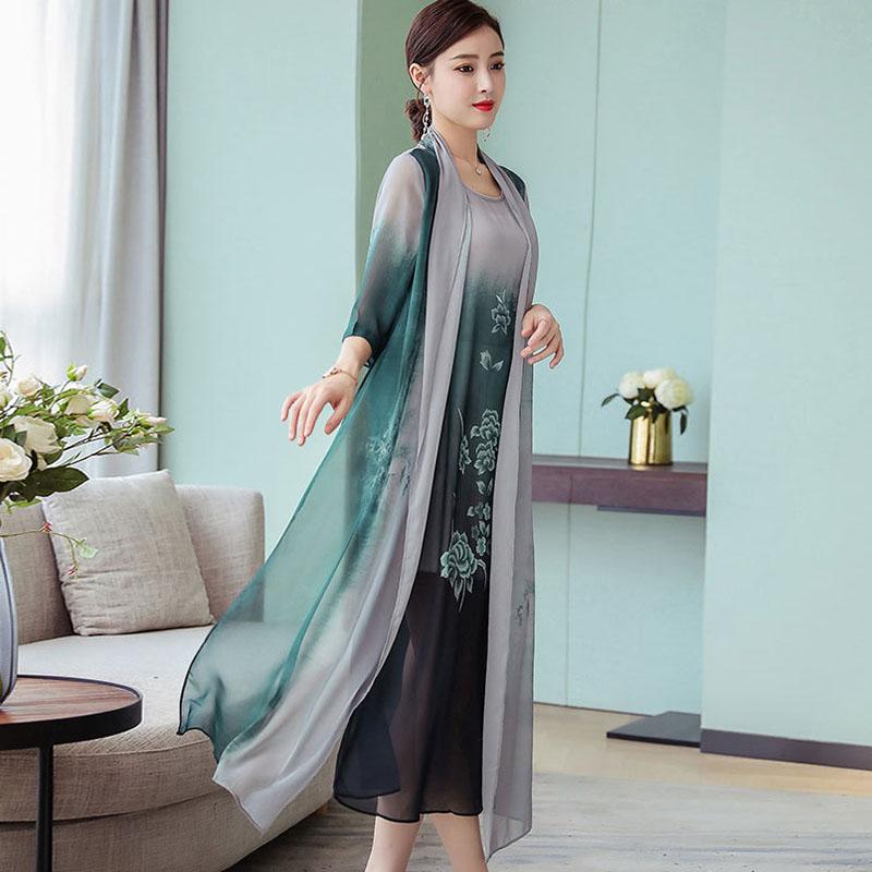 Summer New Women Two Piece Dresses 19 Plus Size Loose Vintage Chiffon Dresses Female Print Half Sleeve Long Dresses LJ2417 3