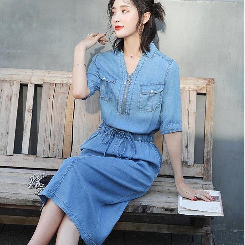 19 Fall Women Midi Cowboy Plus Size Dress Belt Elastic Waist Casual Jeans Dress Half Sleeve V Neck Denim Dress 3