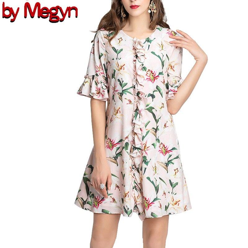 by Megyn 19 runway fashion women loose floral print half sleeve O-neck summer dress good quality 2XL plus size платье летнее