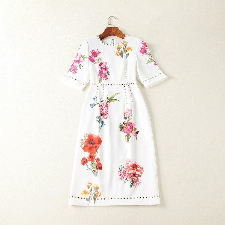 Women Dresses 18 High Quality Summer Runway O-Neck Half Sleeve Printed Beading Lady Dress NPD0776N 2