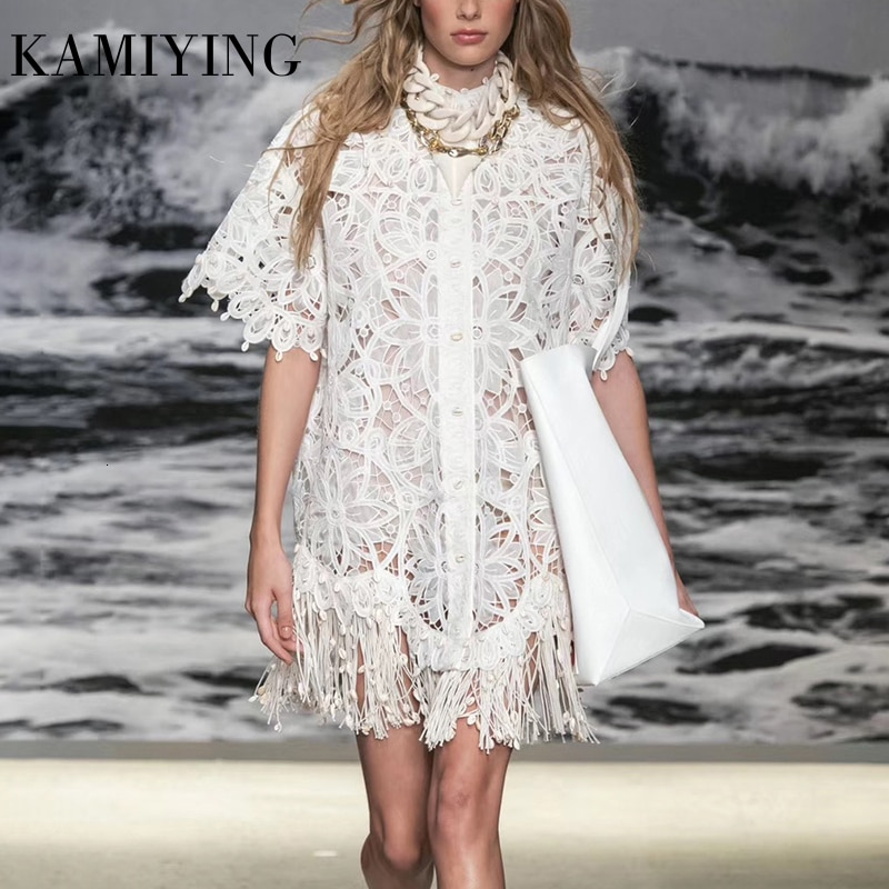 KAMIYING Hollow Out Lace embroidery Tassel Women's Dress Stand Collar Half Sleeve High Waist Mini Dresses Female  Fashion 1