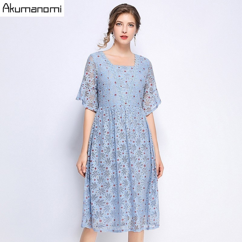Summer Dress Women 19 Hot Plus Size 5xl Blue Square Collar Half Sleeve A-line Dot Lace Party Dress Vestidos Robe Longue Femme 2