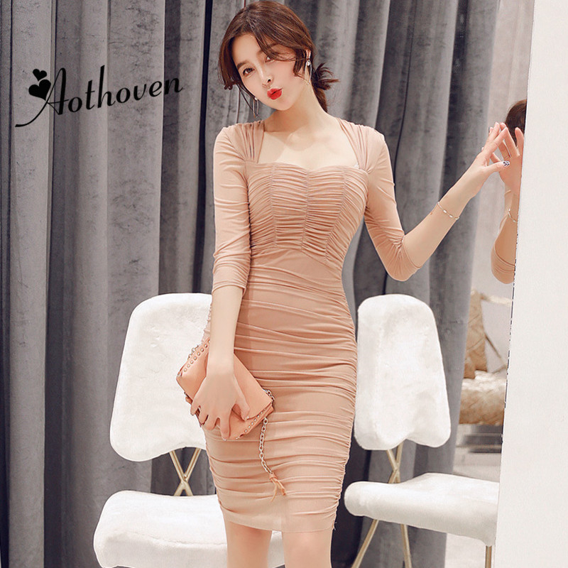 Summer Club Dresses Square Collar Half Sleeve Draped High-end Women Dress Office Lady Sexy Party Vintage Bandage Bodycon Dress 1