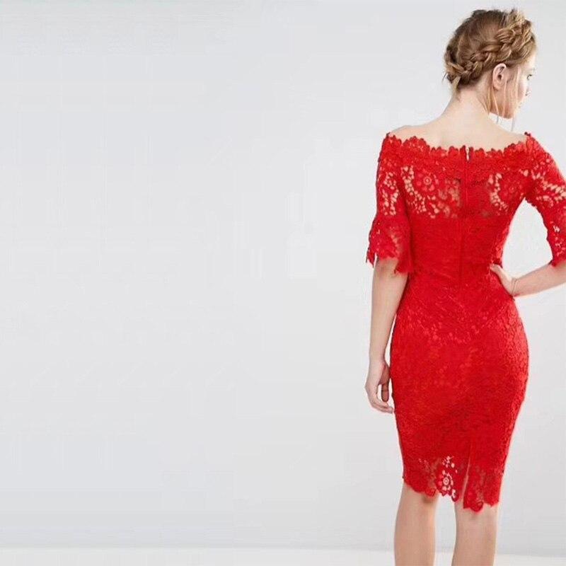18 New Fashion Half Sleeve Lace Dress Summer Elegant Slash Neck Bodycon Sexy Red Women Party Bandage Dresses Vestido Wholesale 2