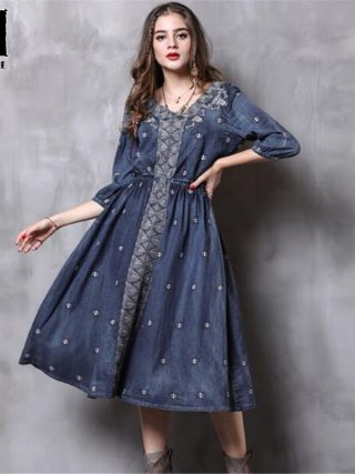 Women Dress Autumn New Vintage Denim Long Dresses V-Neck Half sleeve Embroidery A-line Casual Dress Vestido Vestidos Femininos