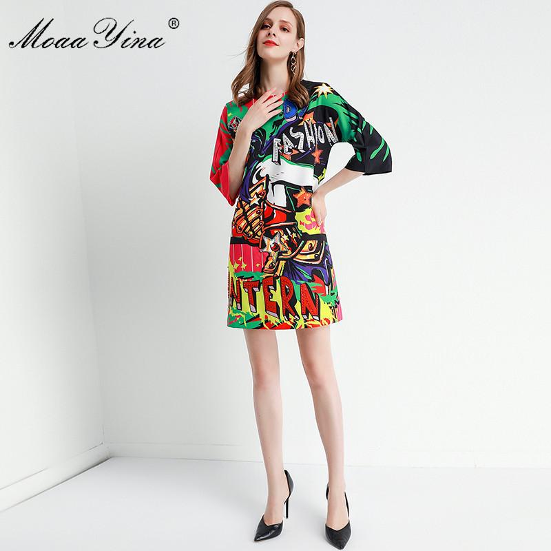 MoaaYina Fashion Designer dress Spring Summer Women's Dress Half sleeve Beading Angel letter Print Dresses 2