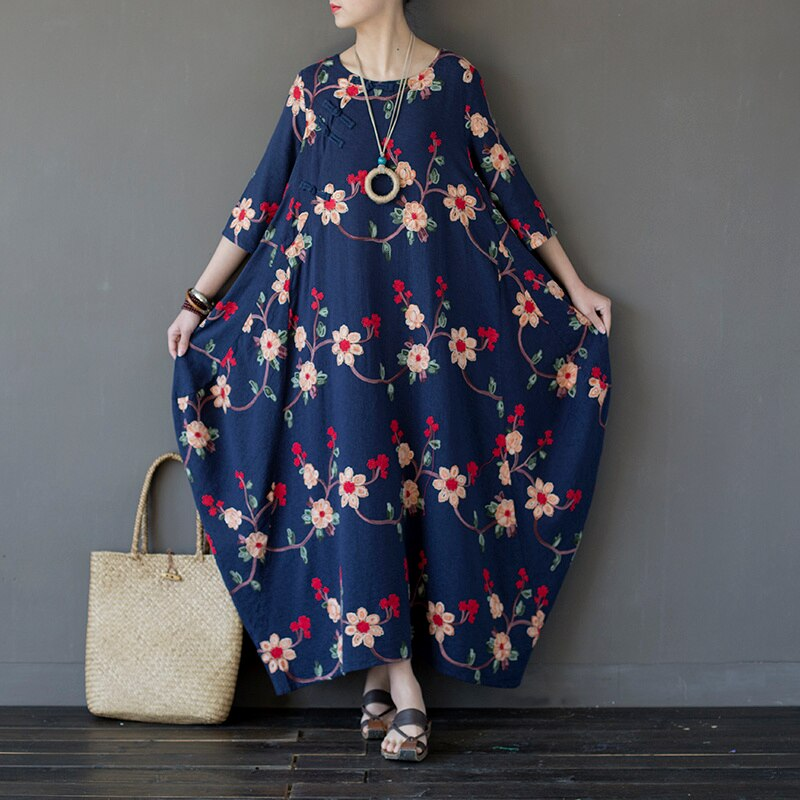 Women Embroidery Floral Dress Chinese Style Autumn New Half Sleeve Women Vintage Loose Cotton Long Dress