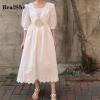 RealShe Summer Dress Long Sailor Collar Half Lantern Sleeve Ruffles Solid Women Dress Elegant Vestidos Bohemian Maxi Dress Beach