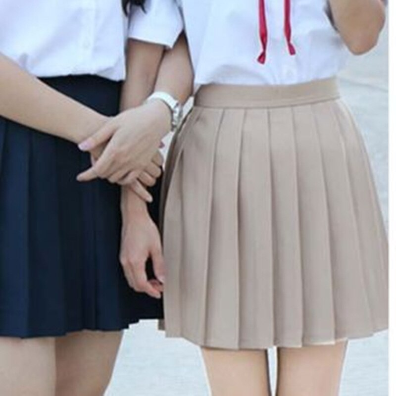 Japan School Girls Uniform Solid Pleated Mini Skirt Cheerleader Sailor Cos Lolita Skirt Women Saias Vestidos 3