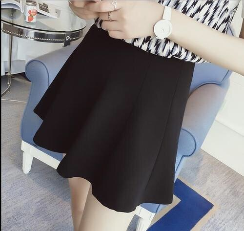 08 summer Women Short skirt new solid color high waist Large size black Pleated Mini fashion skirt 2