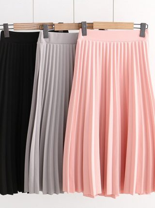 SETWIGG Spring Thick Chiffon Pleated Long Skirt Women Stretch Waist Grinding Pink Calf-length Pleated A-line Summer Skirt SG019