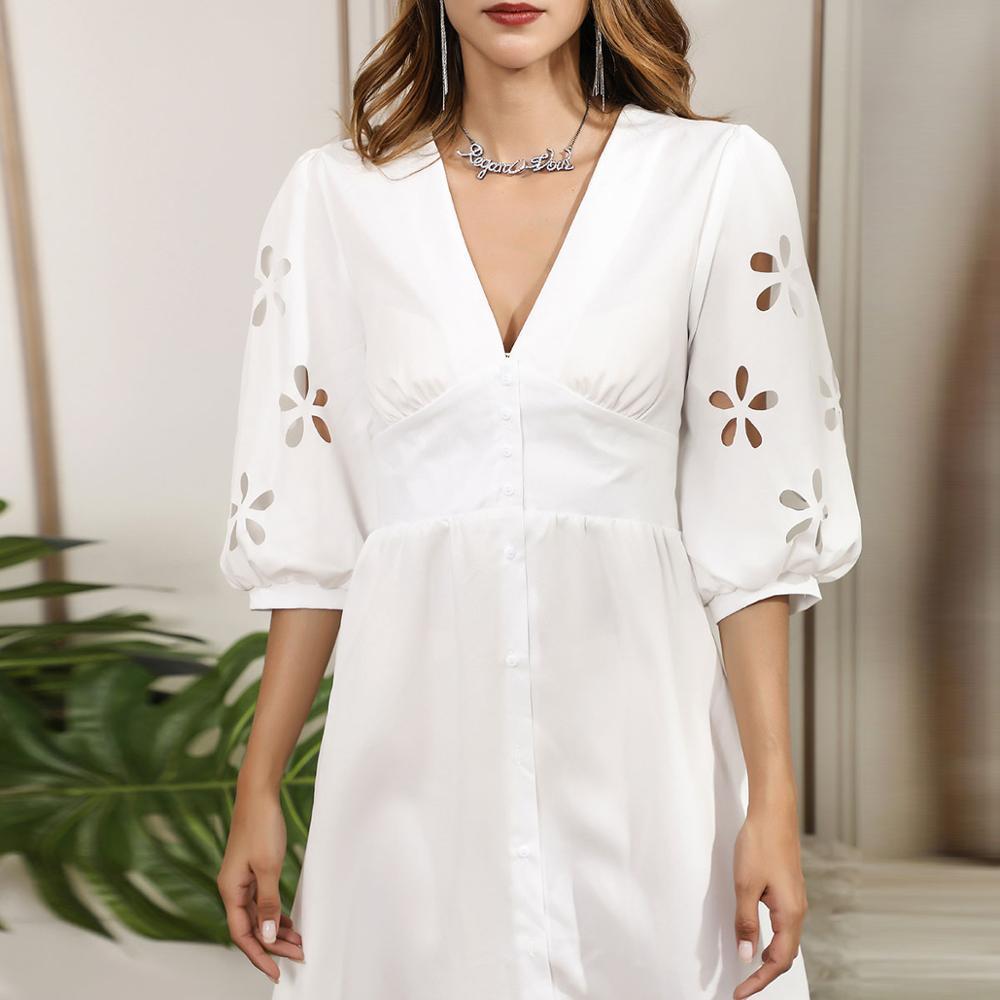 HELIAR Floral Hollow Out Sleeve V-Neck Dress Buttons Half Sleeve White Dress Women Autumn Elegant A-Line Dress For Women Clothes 3